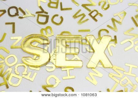Sex  Golden Letters Background
