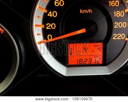 Close Up Car Panel Speed Meter