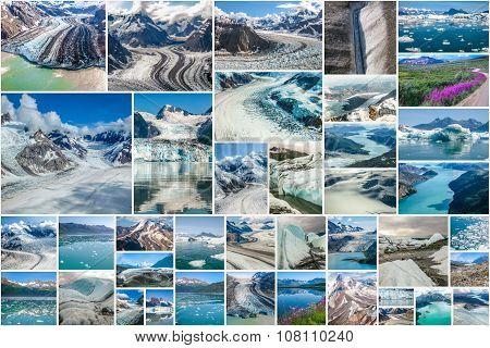 Alaskan glaciers collage