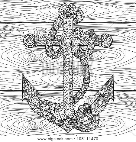 Anchor and rope in the zentangle style.