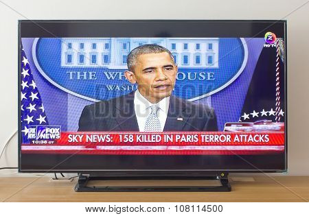 BANGKOK THAILAND - NOV 14 2015: Barack Obama At Fox News Speech Live About the Terrorist Attacks.