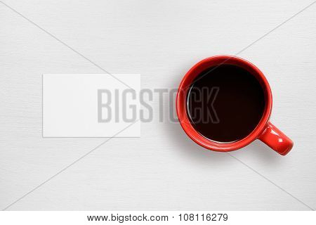 Business Card Mock-up And Coffee Cup Top View