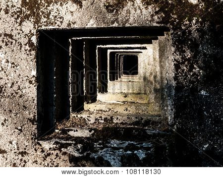 Loophole of old military bunker
