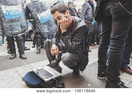 Photographer At Work During A Protest In Milan, Italy
