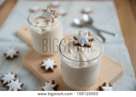 Christmas Dessert with cinnamon stars