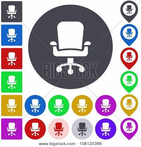 Color swivel chair icon set