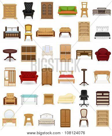 Set Icons Furniture Vector Illustration