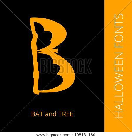Halloween alphabet letter B consist of bat and tree