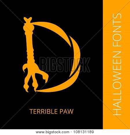 Halloween alphabet letter D consist of terrible paw