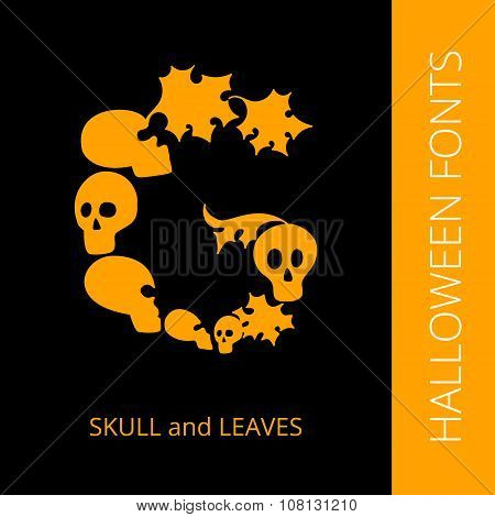 Halloween alphabet letter D consist of scull and leaves