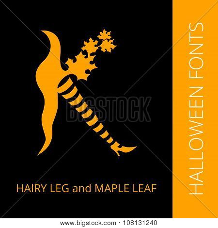 Halloween alphabet letter K consist of witches leg and maple leaf