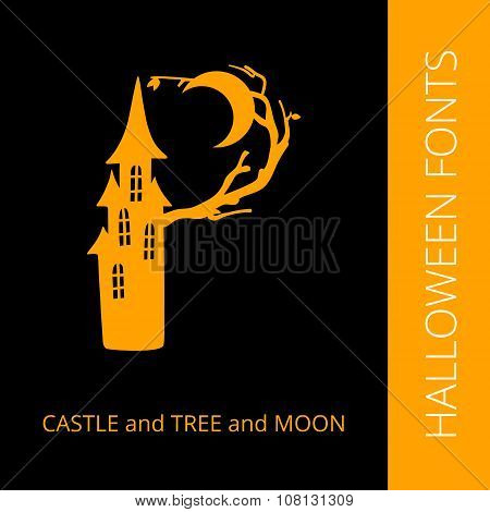 Halloween alphabet letter P consist of castle, tree and moon