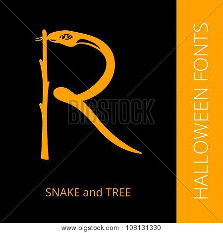 Halloween alphabet letter R consist of snake and tree