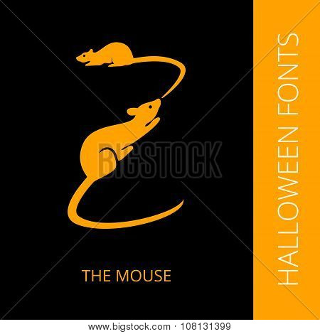 Halloween alphabet letter Z consist of mouse and rat