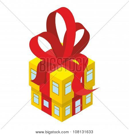 Building Box Gift With Red Bow. Yellow House With Tape. In Festive Box With Windows And Doors. An Un
