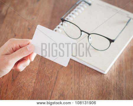 Woman Hold Blank Business Cards