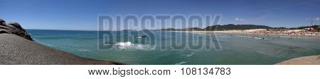 Florianopolis, Santa Catarina, Brazil - January 18, 2010: Panoramic view of a Brazilian beach called Joaquina located in Florianopolis city in Santa Catarina state.