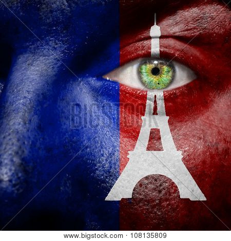 Paris Flag With Eiffel Tower Painted On A Mans Face To Support Paris
