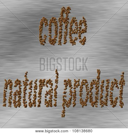 Natural caffee, coffee beans - silver pattern