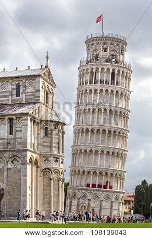 PISA, ITALY - AUGUST 14, 2015: World famous Piazza dei Miracoli in Pisa, Italy (12th century)