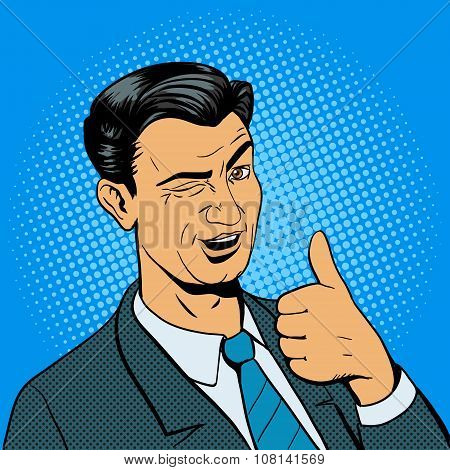 Man winks and shows good hand gesture vector