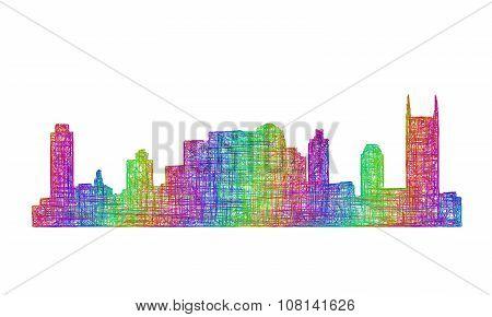 Nashville skyline silhouette - multicolor line art