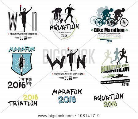 Set of modern sports: triathlon, marathon, aquatlon, cycling logos, icons and design elements.