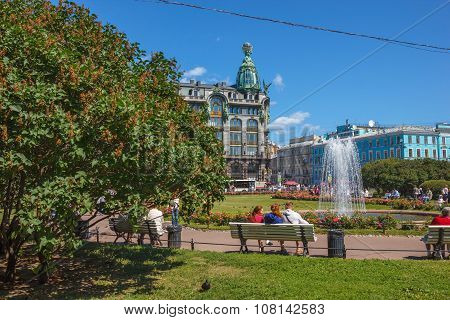 Square Near Kazan Cathedral With Fountain