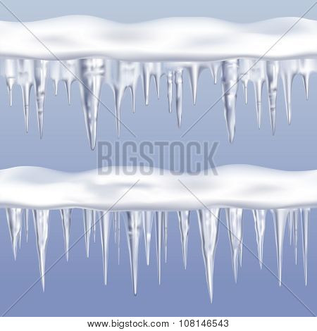 Icicles tileable borders set on blue background realistic isolated vector illustration poster