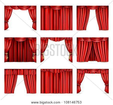 Theatre Curtain Icons Set