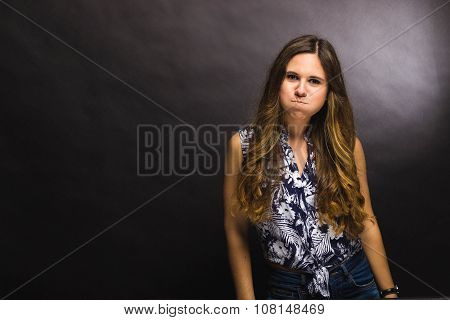 Funny Beautiful Girl Isolated On Black Background