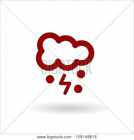 Color Cloud Lightning And Snow Vector Line Icon