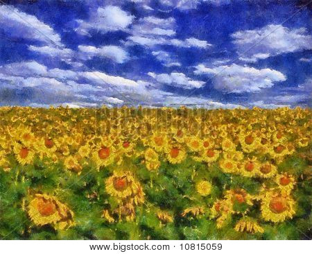 Sunflower Field Under Blue Sky Background Painting