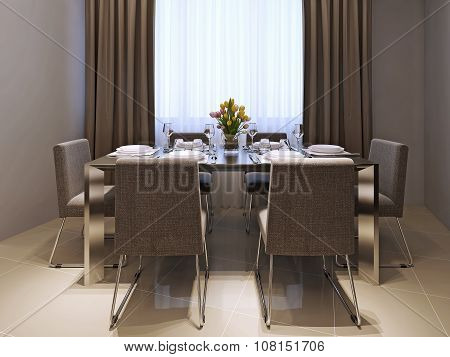 Dining room modern style. Table with soft chairs. 3d images poster