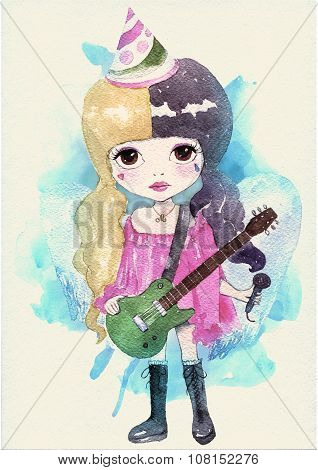 Watercolor little girl singer. Original illustration. Watercolor paper texture poster