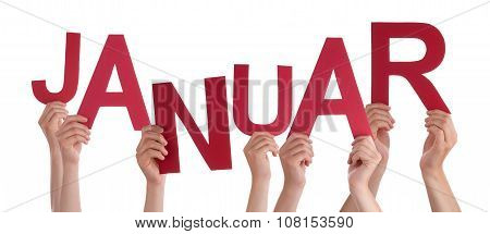 People Holding German Word Januar Means January