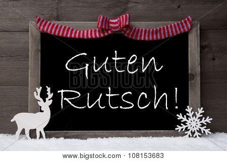 Gray Christmas Card, Snow, Loop, Guten Rutsch Mean New Year