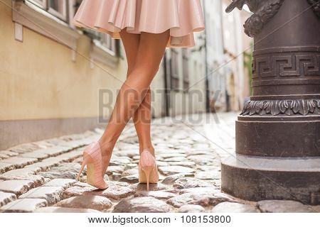 Elegant lady wearing high heels