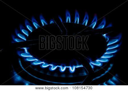 Cooking Plate: Cooktop - Gas Stovetop Burning In Dark Background