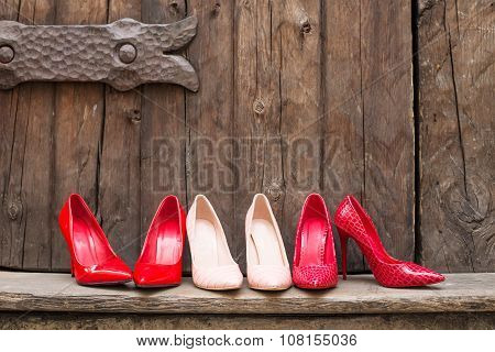 Different pairs of high heel shoes