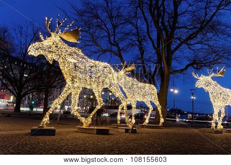 Christmas Moose Floc Made Of Led Light