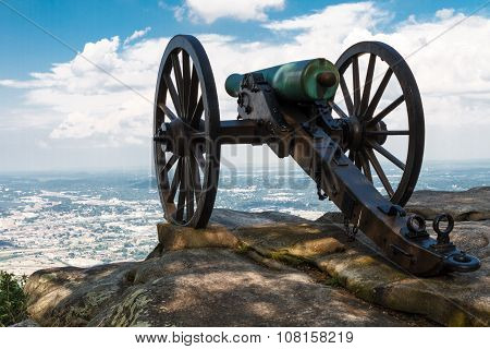Civil War Era Cannon Atop Lookout Mountain, Overlooks Chattanooga Tennessee