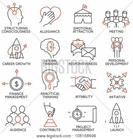 Vector Set Of 16 Icons Related To Business Management, Strategy, Career Progress And Business Proces