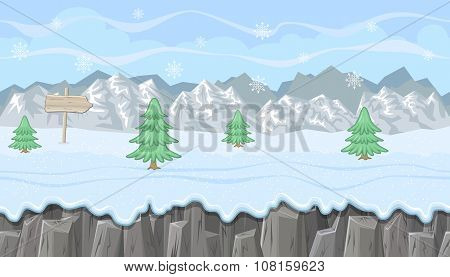 Seamless Winter Landscape With Mountains And Firs For Christmas  Game Design