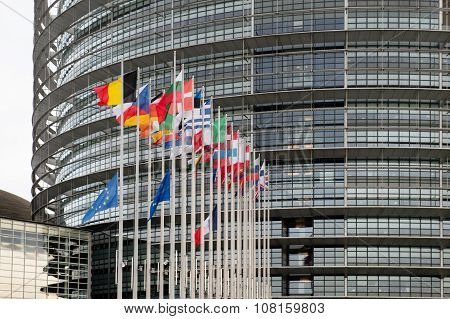 European Union Flags And France Flag Flies At Half-mast