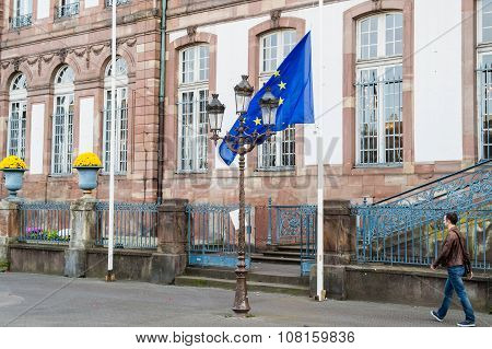 Half-mast Flags In Strasbourg City Hall Mairie Alsace