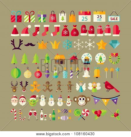 Big Flat Style Vector Collection Of Winter Holidays Objects