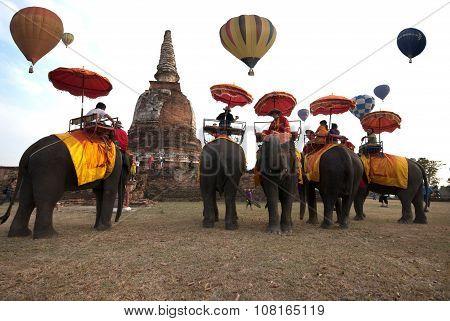 Hot Air Balloon Show On Ancient Temple In Thailand International Balloon Festival 2009.