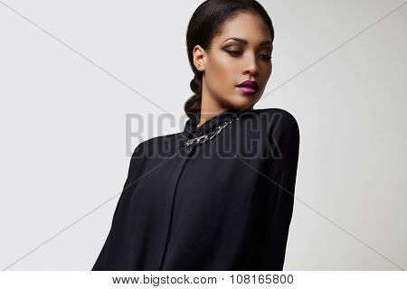 Beauty Black Woman With A Stright Hair In Ponetail