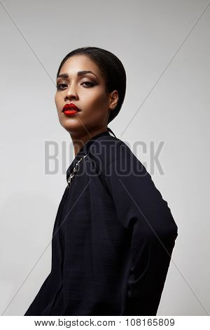 Beauty Black Woman Wearing Red Lipstick